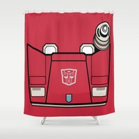 transformers Shower Curtains featuring Transformers - Sideswipe by CaptainLaserBeam