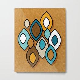 Mid Century Modern Scandinavian Leaves // Turquoise, Brown, Khaki, Marigold Yellow Metal Print