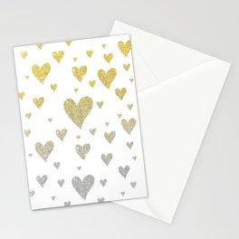 Glitter Hearts Stationery Cards