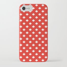 Small Reversed White Canadian Maple Leaf on Red iPhone Case