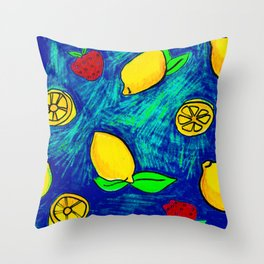 Lemons and strawberry's Throw Pillow