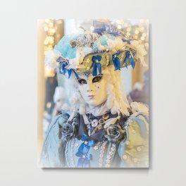 Venice Carnival 2018 White mask in San Marco Metal Print
