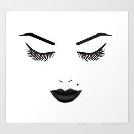 Black Lips Beauty Face Art Print