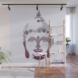 Buddha Head violet - grey Wall Mural