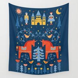 Scandivian Fairytale in Blue Wall Tapestry