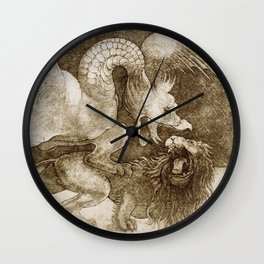 "Leonardo da Vinci ""Fight between a dragon and a lion"" (sepia) Wall Clock"