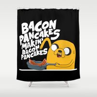 finn and jake Shower Curtains featuring Finn & Jake Makin Bacon Pancakes by E30M52B25