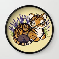 platypus Wall Clocks featuring Loafing Tiger, Hidden Platypus by Spoopy Surprise
