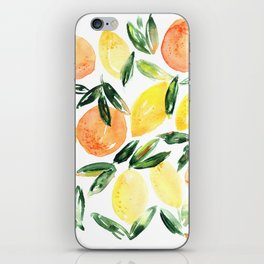 Sicilian orchard: lemons and oranges in watercolor, summer citrus iPhone Skin