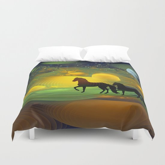 Awakening, Mysterious mixed media art with horses Duvet Cover