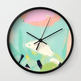 minimal floral abstract art Wall Clock