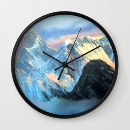 Panoramic Sunrise View Of Everest Mountain Wall Clock