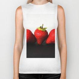 Strawberries On White Over Black Biker Tank