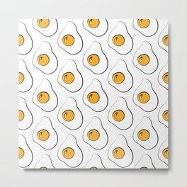 White fried eggs pop art breakfast pattern Metal Print