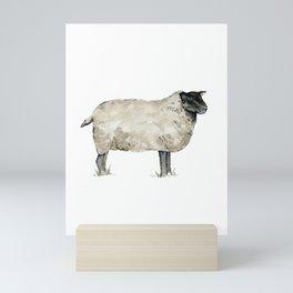 Sheep, Farmhouse Watercolor, Rustic Painting Mini Art Print