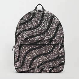Silver Glitter With Black Squiggles Pattern Backpack