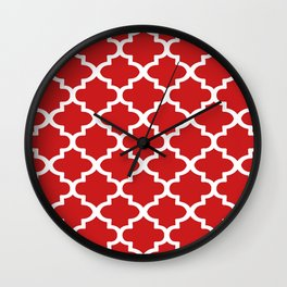 Arabesque Architecture Pattern In Red Wall Clock