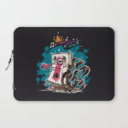 Cartoon Audio Cassette Tape on Dark Background Laptop Sleeve