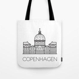 Marble Church Copenhagen Denmark Black and White Tote Bag