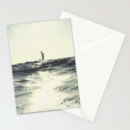 SUP board surfer at Sunset vintage Film simulation Stationery Cards