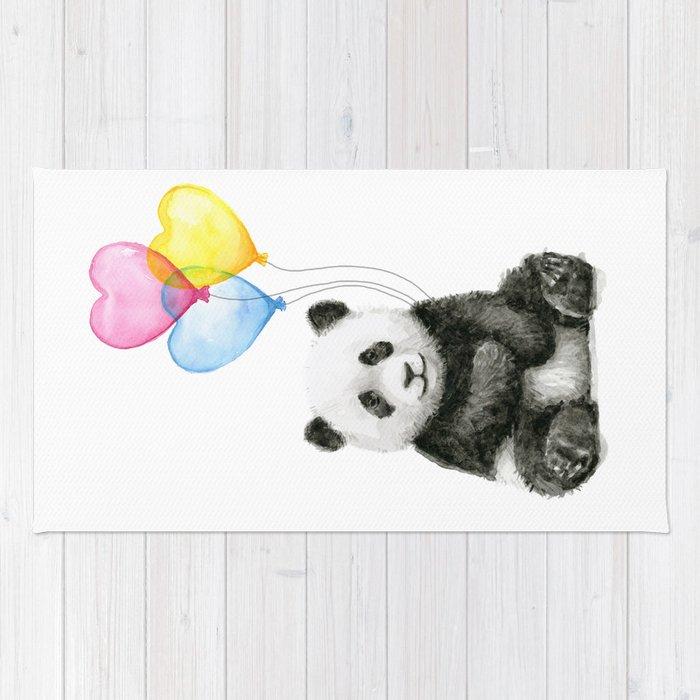 Panda Baby With Heart Shaped Balloons Whimsical Animals Nursery Decor Rug