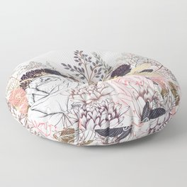 Miles and miles of rose garden. Retro floral pattern in vintag style Floor Pillow