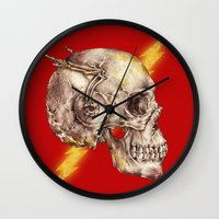 the flash Wall Clocks featuring Flash by Alan Maia