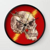 flash Wall Clocks featuring Flash by Alan Maia