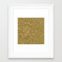 gold glitter Framed Art Prints featuring GLITTER GOLD by isoncaDesign