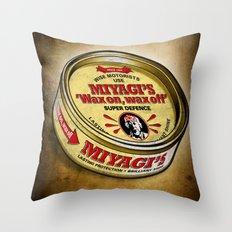 Miyagi's Super Wax Throw Pillow