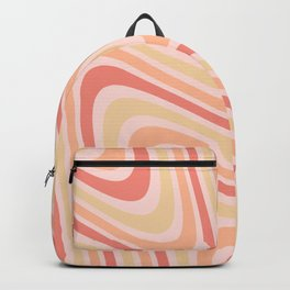 Retro 70s Abstract Peach Yellow Backpack