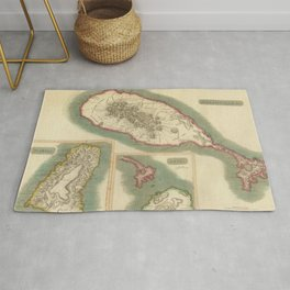 Vintage Map of Various Islands of The Caribbean Rug