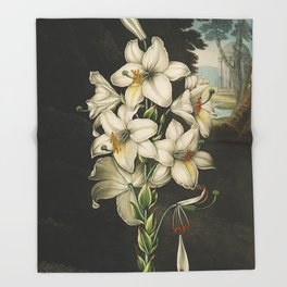 White Lily Vintage Floral beautiful watercolor painting Throw Blanket