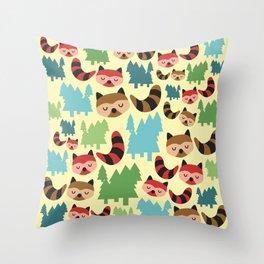 The Bandit Raccoons Throw Pillow