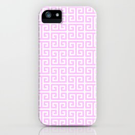 Pink and White Greek Key Pattern iPhone Case