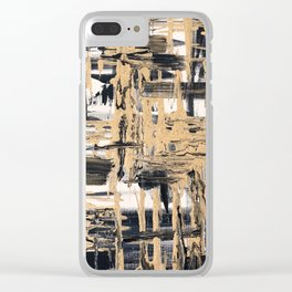 Black and Gold abstract painting Clear iPhone Case