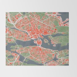 Stockholm city map classic Throw Blanket