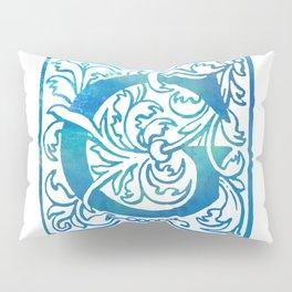 Letter G Antique Floral Letterpress Monogram Pillow Sham