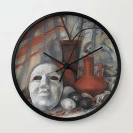 """Still life with the mask in grey and terracotta tones"", soft pastels, life drawing Wall Clock"