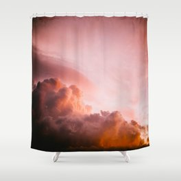 Beautiful Pink Orange Fluffy Sunset Clouds Cotton Candy Texture Sky Shower Curtain