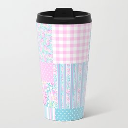 Roses and Butterflies Faux Patchwork Travel Mug