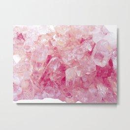 Pink Rose Quartz Crystals Metal Print