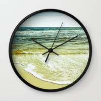 wave Wall Clocks featuring wave by Bonnie Jakobsen-Martin