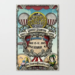 The Steampunk Worlds Fair 2015 Poster The Unbirthday Party Canvas Print