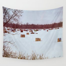 Ice Fishing Village Wall Tapestry