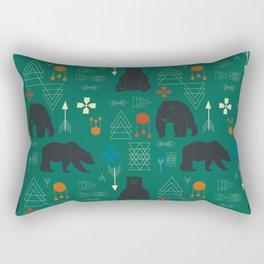 Tribal bear Green Rectangular Pillow