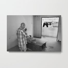 Portrait of a homeless man at home Metal Print