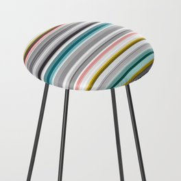 grey and colored stripes Counter Stool