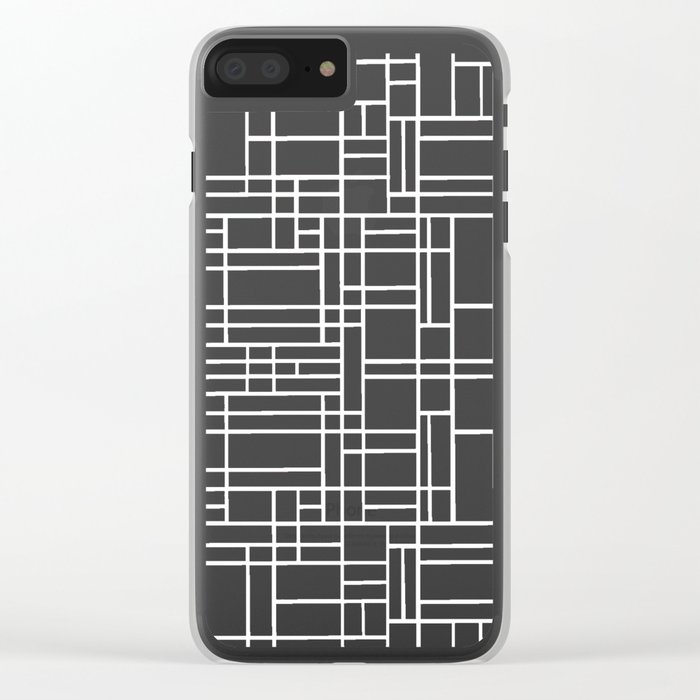 Map Outline White on Black Clear iPhone Case