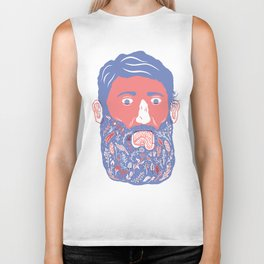 Flowers in Beard Biker Tank